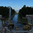 Stock Video: Famous petergof fountains in St. Petersburg Russia