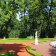 Stock Video: Renovated Summer garden park in St. Petersburg Russia