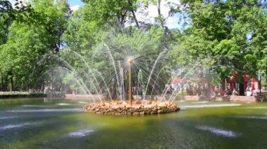 Fonte sol em peterhof parque st. petersburg rússia - timelapse — Vídeo Stock