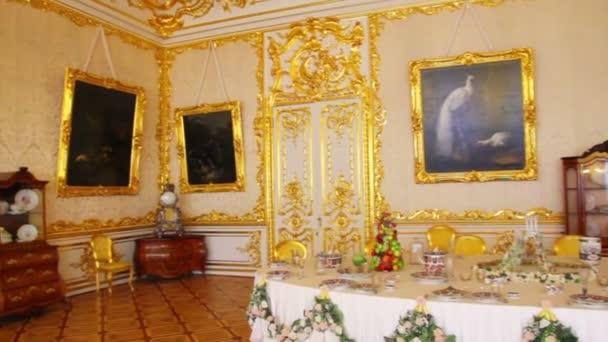Interior de Palacio de pushkin San Petersburgo Rusia — Vídeo de stock