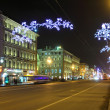 Nevsky Prospect in St. Petersburg at Christmas night — Stock Photo #37319995