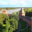 Veliky Novgorod - view from Kokuy tower on Kremlin, city and river — Stock Video
