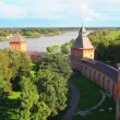 Veliky Novgorod - view from Kokuy tower on Kremlin, city and river - timelapse — Stock Video