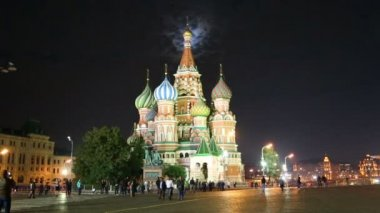St. Basil Church (Vasiliy Blazhenniy) and moon light in Moscow Russia — Stock Video