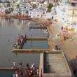 Ritual bathing in holy lake Pushkar India - timelapse — Stock Video