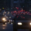 Evening car traffic at rush hour in moscow - timelapse — Stock Video