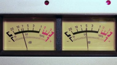 Stereo decibel meters - part of sound equipment — Stock Video