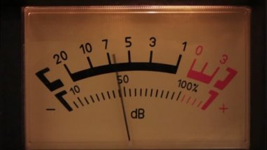 Decibel meter with backlit - part of sound equipment — Stock Video