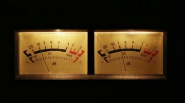 Stereo decibel meters with backlit - part of sound equipment — Stock Video
