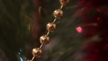 Decorated christmas tree with flashing garlands macro — Stock Video