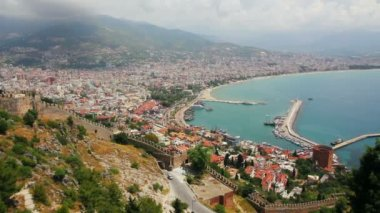 View from fortress on Alanya city - Turkey — Stock video