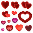 Set of many isolated red hearts — Stock Photo