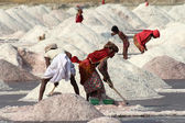 Salt mining on Sambhar lake in India — Stock Photo