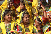 Group of Indian girls in colorful ethnic attire — Stock Photo