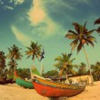 Old fishing boats on beach - vintage retro style — Stock Photo #39966039