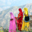 Indian women in colorful saris on top of hill — Stock Photo #39966093