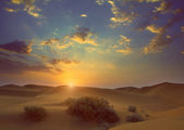 Sunrise in desert - vintage retro style — Stock Photo