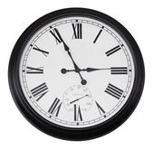 Black wall vintage clock isolated — Stock Photo
