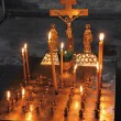Candles and crucifix in church — Stock Photo #41366879