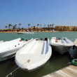 Boats standing at the pier channel of El Gouna — Stock Photo #44010803