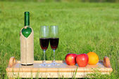 Picnic - tabe with wine and fruits — Foto Stock