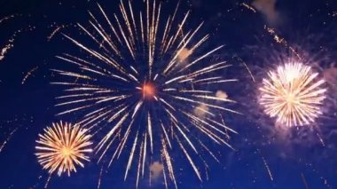 Beautiful fireworks show in the night sky — Stock Video