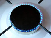 Gas burns in gas stove — Stock Photo