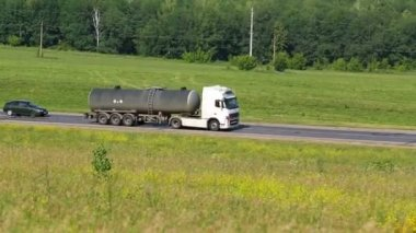 Tank truck driving on a road — Stock Video