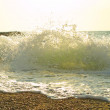 Sea beach with waves, splashes and foam — Stock Photo #1119652