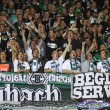 Borussia Monchengladbach team supporters show their support — Stock Photo