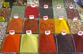 Various herbs and spices section at the market — Stockfoto