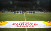 Official UEFA Europa League banner at the field — Stock Photo