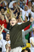 English fans react after England beat of Sweden — Stock Photo