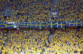 Sweden fans at NSC Olympic stadium during UEFA EURO 2012 game — Stock Photo