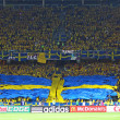 Sweden fans show their support during their UEFA EURO 2012 game — Stock Photo
