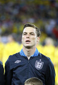 Scott Parker of England sings the national anthem — Stock Photo