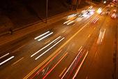 Noc ruchu drogowego — Zdjęcie stockowe