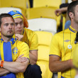 Swedish soccer fans react after England beat of Sweden — Stock Photo