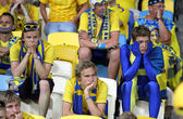 Swedish soccer fans — Stock Photo