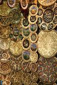 Dekorativa tallrikar med ritningar istanbul landmärken — Stockfoto