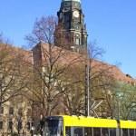 Modern tram on the street of Dresden — Stock Photo