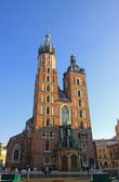 Facade of St. Marys Basilica in Krakow — Stock Photo