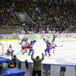 Ice-hockey game Ukraine vs Poland — 图库照片