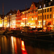 Boats at the Nyhavn harbor in night, Copenhagen, Denmark — Stock Photo #19636615