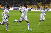 FC Dynamo Kyiv players celebrate after scored a goal — Stock Photo