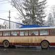 Vintage trolleybus on the street of Chernivtsi, Ukraine - Stock Photo