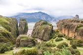 Meteora Rocks with Kalampaka town on the background, Trikala reg — Stock Photo