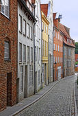 Small street with old buildings in Lubeck — Stock Photo