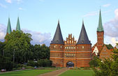 Holsten Gate in Lubeck old town, Germany — Stock Photo