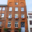 Facade of typical German residential house in Lubeck - Stock Photo